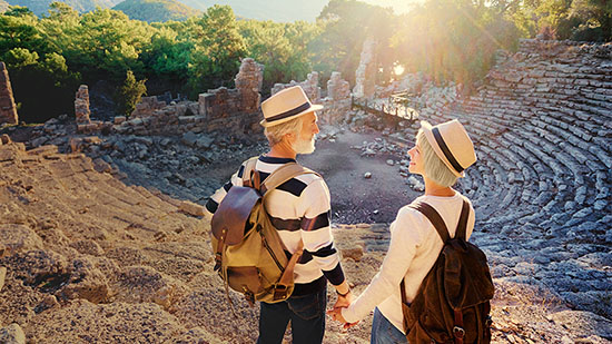 Fundraising image - Couple hiking ancient ruins