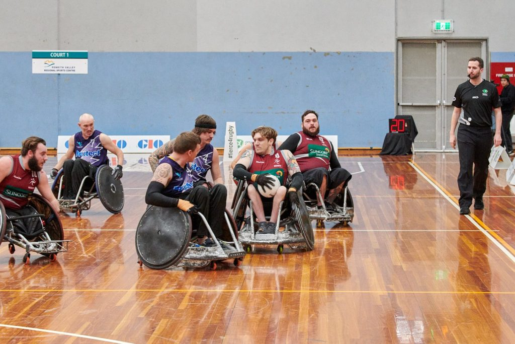 Wheelchair rugby in action