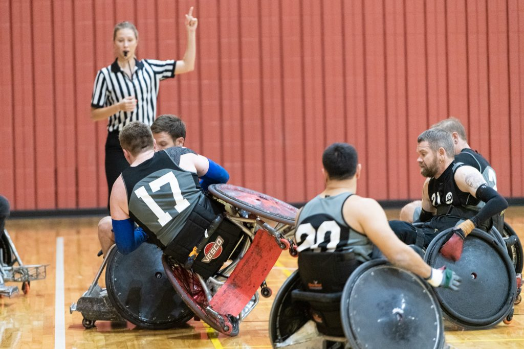 Wheelchair rugby acfion shot at rugby bash